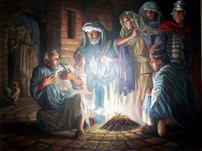 Peter ved bålet i yppersepræstens gård, gammelt maleri