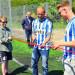 Michael Almebäck og Robin Söder fra Esbjerg FB klippede snoren til kunstgræsbanen.