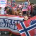Der har været protester mod Norge og Barnevernet verden over efter fjernelsen af fem børn fra en kristen norsk-tjekkisk familie. Foto: Twitter.